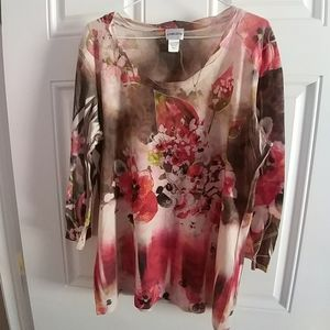 Pretty Chico's flowered and bejeweled top - size 2